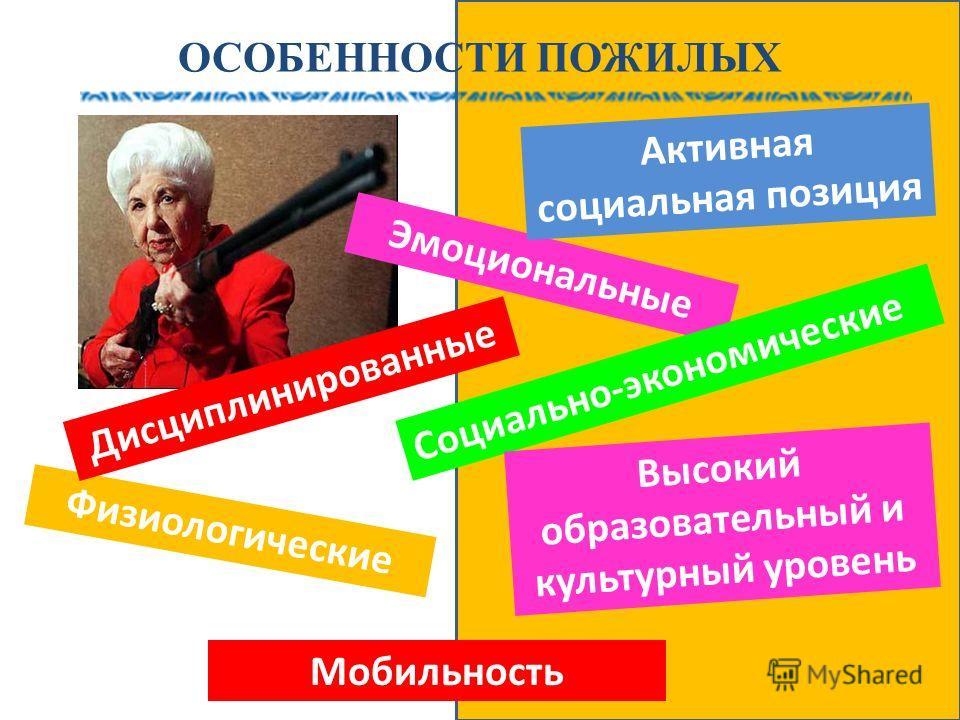 ОСОБЕННОСТИ ПОЖИЛЫХ Эмоциональные Социально-экономические Физиологические Дисциплинированные Активная социальная позиция Высокий образовательный и культурный уровень Мобильность