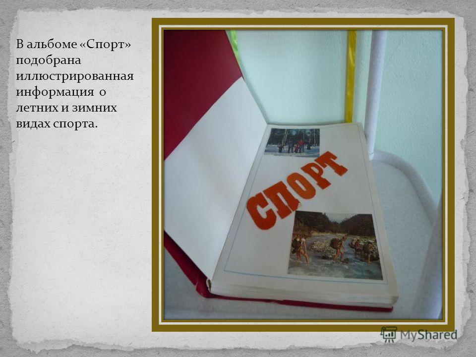 В альбоме «Спорт» подобрана иллюстрированная информация о летних и зимних видах спорта.