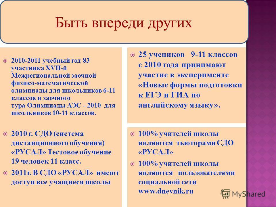 2010-2011 учебный год 83 участника XVII-й Межрегиональной заочной физико-математической олимпиады для школьников 6-11 классов и заочного тура Олимпиады АЭС - 2010 для школьников 10-11 классов. 25 учеников 9-11 классов с 2010 года принимают участие в