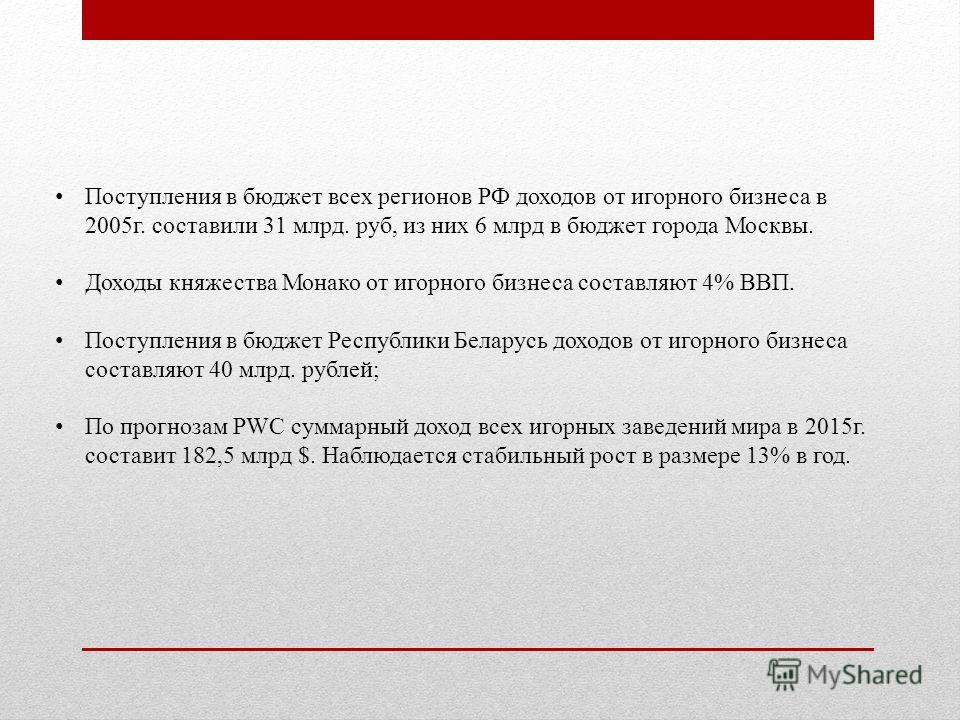 Поступления в бюджет всех регионов РФ доходов от игорного бизнеса в 2005 г. составили 31 млрд. руб, из них 6 млрд в бюджет города Москвы. Доходы княжества Монако от игорного бизнеса составляют 4% ВВП. Поступления в бюджет Республики Беларусь доходов