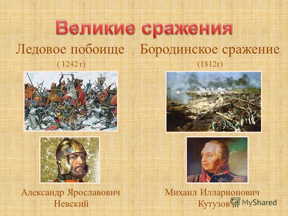 Ледовое побоище ( 1242 г ) Бородинское сражение (1812 г ) Александр Ярославович Невский Михаил Илларионович Кутузов