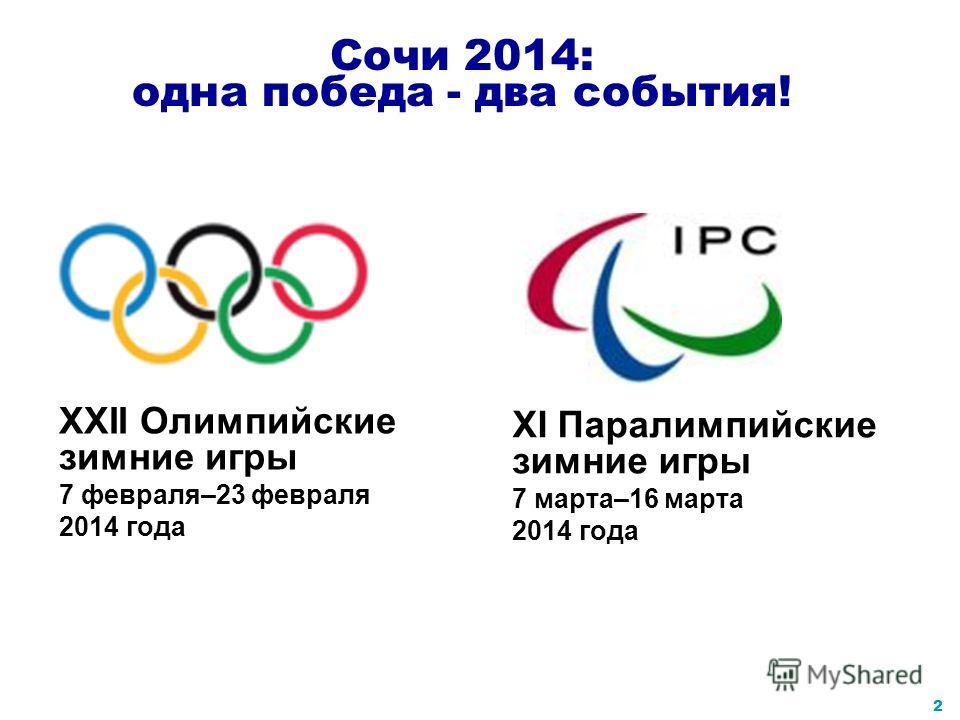 1 2014 год - XXII Олимпийские зимние игры и XI Паралимпийские зимние игры