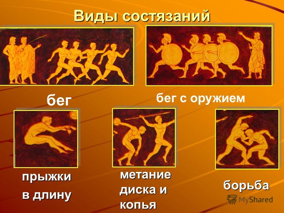 Виды состязаний бег с оружием бег прыжки в длину метание диска и копья борьба