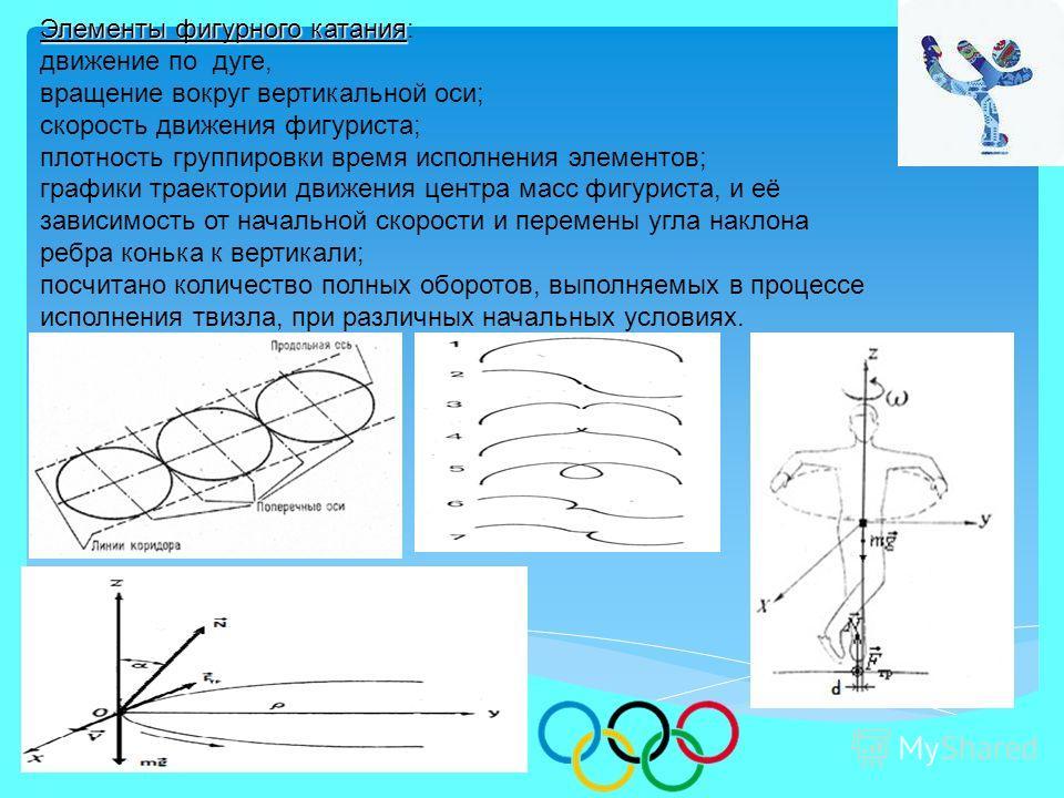 Элементы фигурного катания Элементы фигурного катания: движение по дуге, вращение вокруг вертикальной оси; скорость движения фигуриста; плотность группировки время исполнения элементов; графики траектории движения центра масс фигуриста, и её зависимо