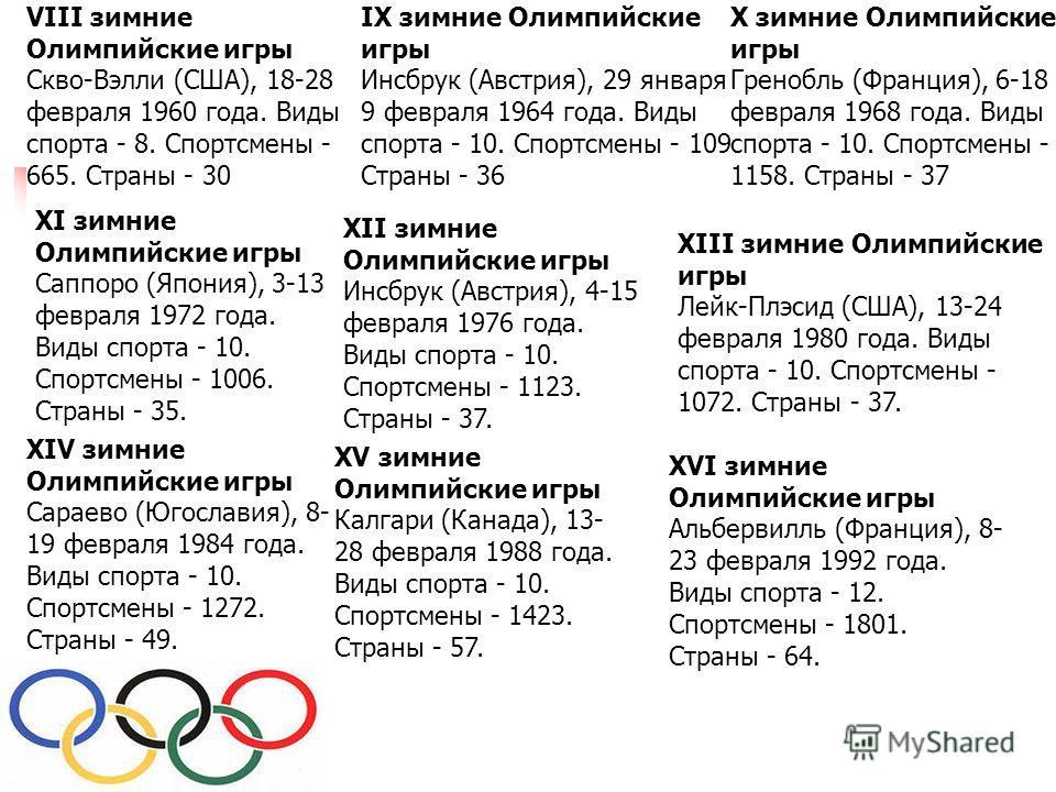 VIII зимние Олимпийские игры Скво-Вэлли (США), 18-28 февраля 1960 года. Виды спорта - 8. Спортсмены - 665. Страны - 30 IX зимние Олимпийские игры Инсбрук (Австрия), 29 января - 9 февраля 1964 года. Виды спорта - 10. Спортсмены - 1091. Страны - 36 X з
