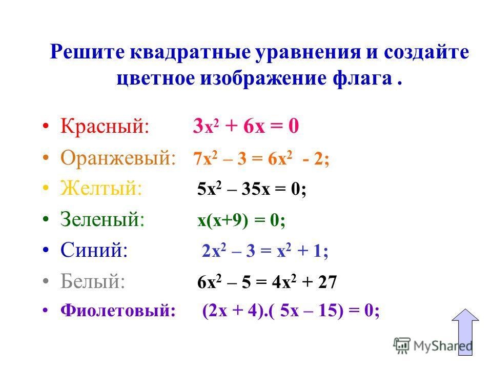 Решите квадратные уравнения и создайте цветное изображение флага. Красный: 3 х 2 + 6х = 0 Оранжевый: 7х 2 – 3 = 6х 2 - 2; Желтый: 5х 2 – 35х = 0; Зеленый: х(х+9) = 0; Синий: 2х 2 – 3 = х 2 + 1; Белый: 6х 2 – 5 = 4х 2 + 27 Фиолетовый: (2х + 4).( 5х –