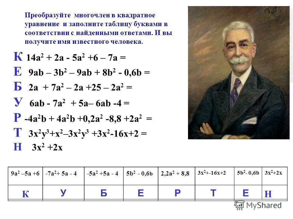 Преобразуйте многочлен в квадратное уравнение и заполните таблицу буквами в соответствии с найденными ответами. И вы получите имя известного человека. К 14a 2 + 2a - 5a 2 +6 – 7а = Е 9ab – 3b 2 – 9ab + 8b 2 - 0,6b = Б 2а + 7a 2 – 2а +25 – 2a 2 = У 6a