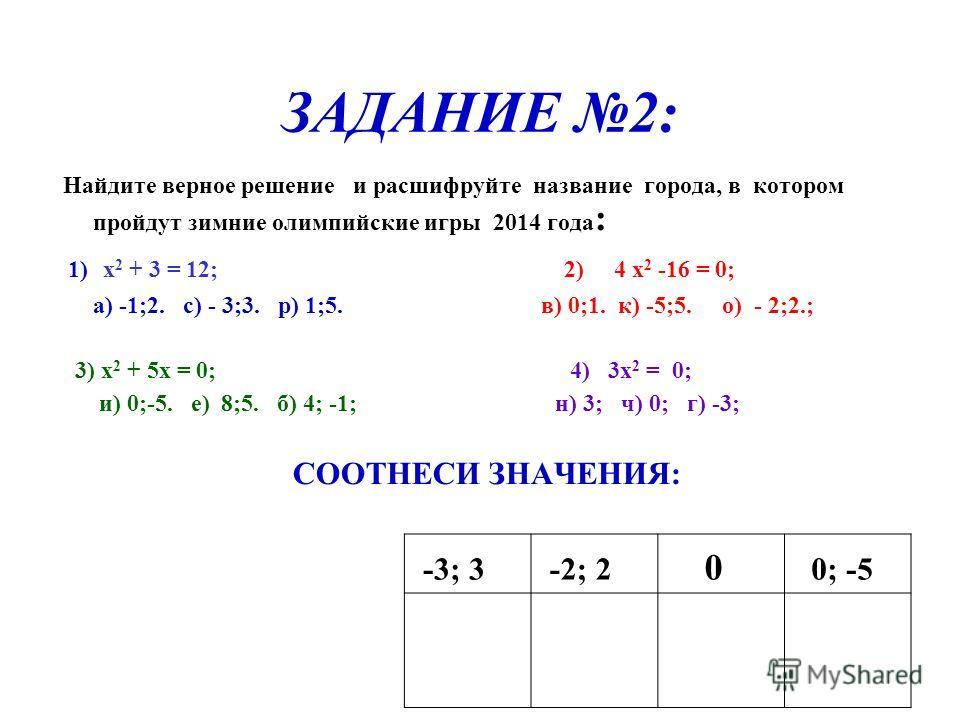 ЗАДАНИЕ 2: Найдите верное решение и расшифруйте название города, в котором пройдут зимние олимпийские игры 2014 года : 1) х 2 + 3 = 12; 2) 4 x 2 -16 = 0; а) -1;2. с) - 3;3. р) 1;5. в) 0;1. к) -5;5. о) - 2;2.; 3) x 2 + 5х = 0; 4) 3x 2 = 0; и) 0;-5. е)
