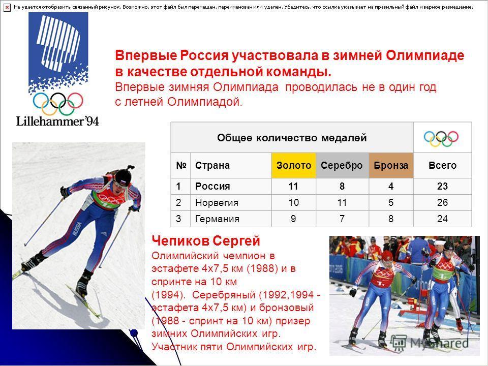 Зимние Олимпийские игры 1994 Впервые Россия участвовала в зимней Олимпиаде в качестве отдельной команды. Впервые зимняя Олимпиада проводилась не в один год с летней Олимпиадой. Медальный зачет Общее количество медалей Страна ЗолотоСеребро БронзаВсего