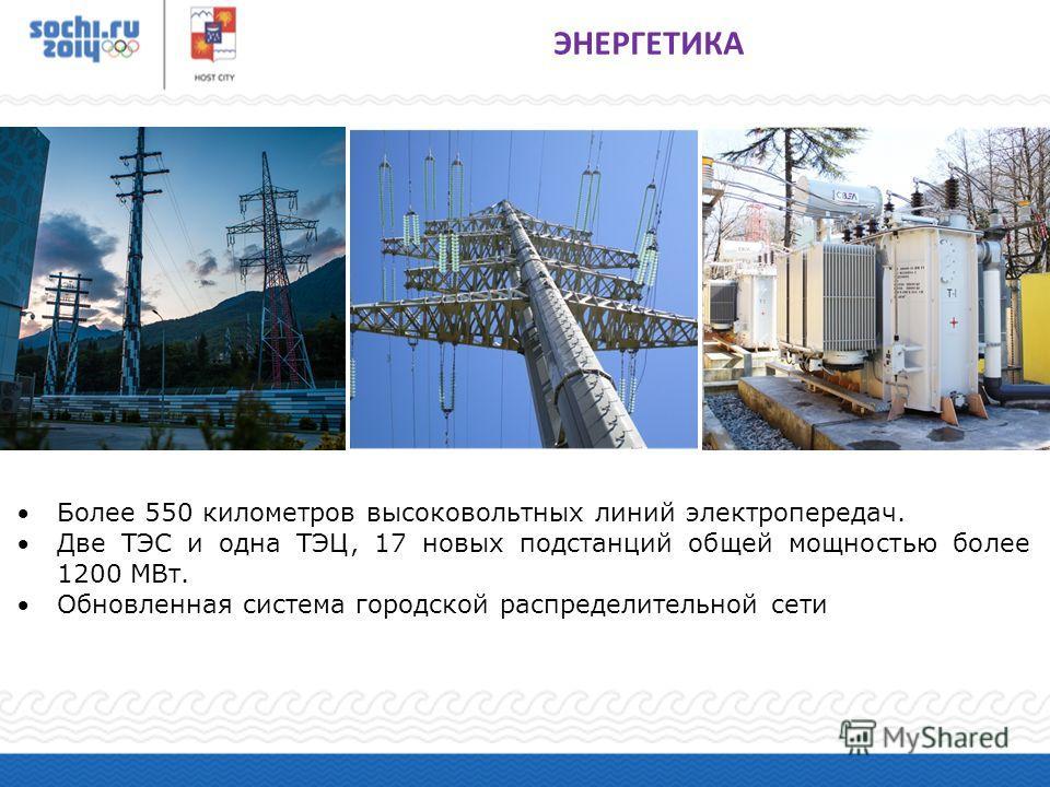 Более 550 километров высоковольтных линий электропередач. Две ТЭС и одна ТЭЦ, 17 новых подстанций общей мощностью более 1200 МВт. Обновленная система городской распределительной сети ЭНЕРГЕТИКА