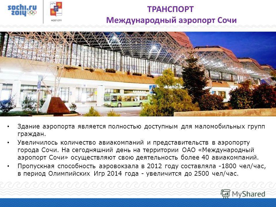 Здание аэропорта является полностью доступным для маломобильных групп граждан. Увеличилось количество авиакомпаний и представительств в аэропорту города Сочи. На сегодняшний день на территории ОАО «Международный аэропорт Сочи» осуществляют свою деяте