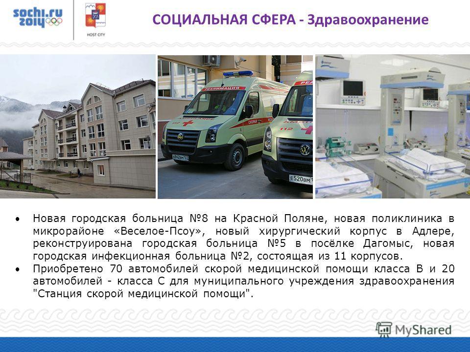 Новая городская больница 8 на Красной Поляне, новая поликлиника в микрорайоне «Веселое-Псоу», новый хирургический корпус в Адлере, реконструирована городская больница 5 в посёлке Дагомыс, новая городская инфекционная больница 2, состоящая из 11 корпу