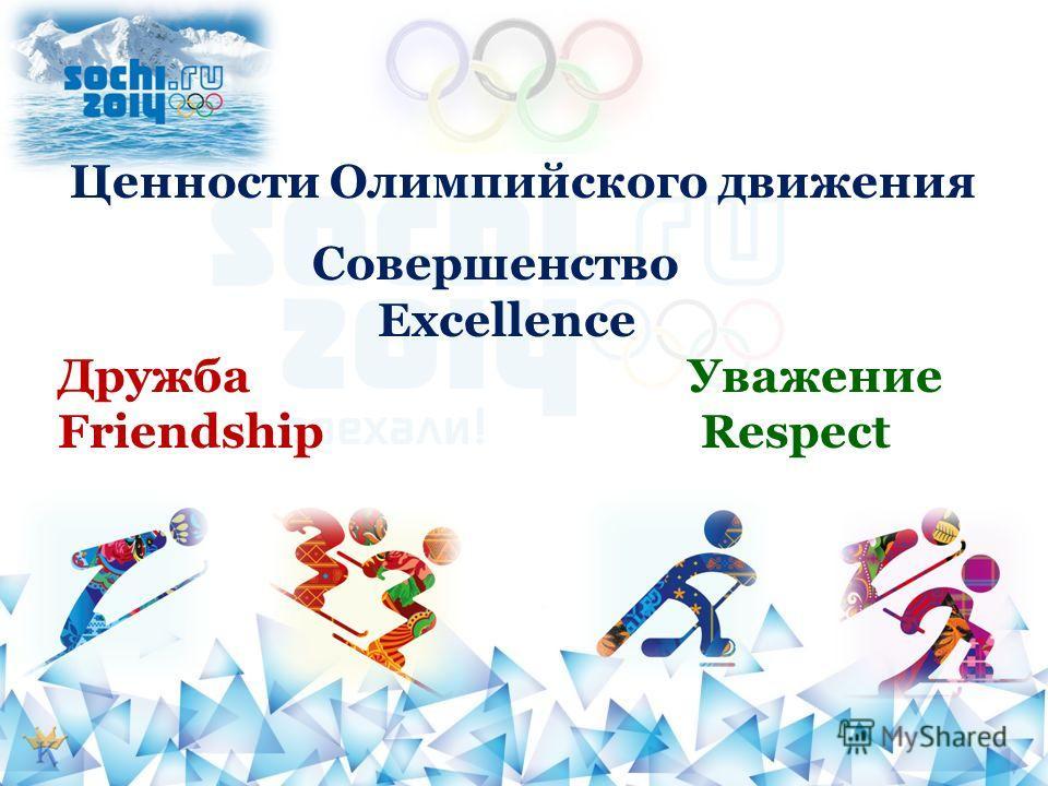 Ценности Олимпийского движения Совершенство Excellence Дружба Уважение Friendship Respect