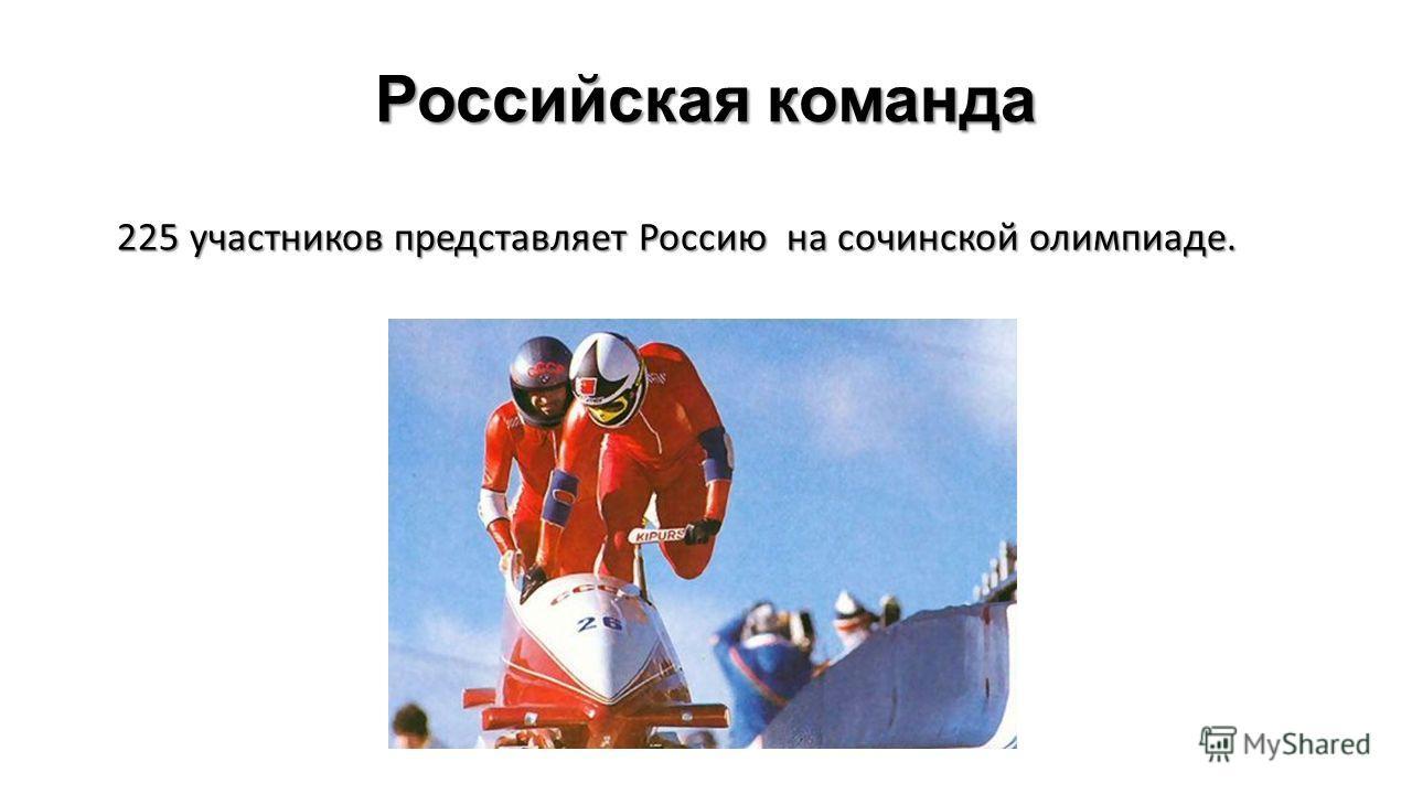 Российская команда 225 участников представляет Россию на сочинской олимпиаде.