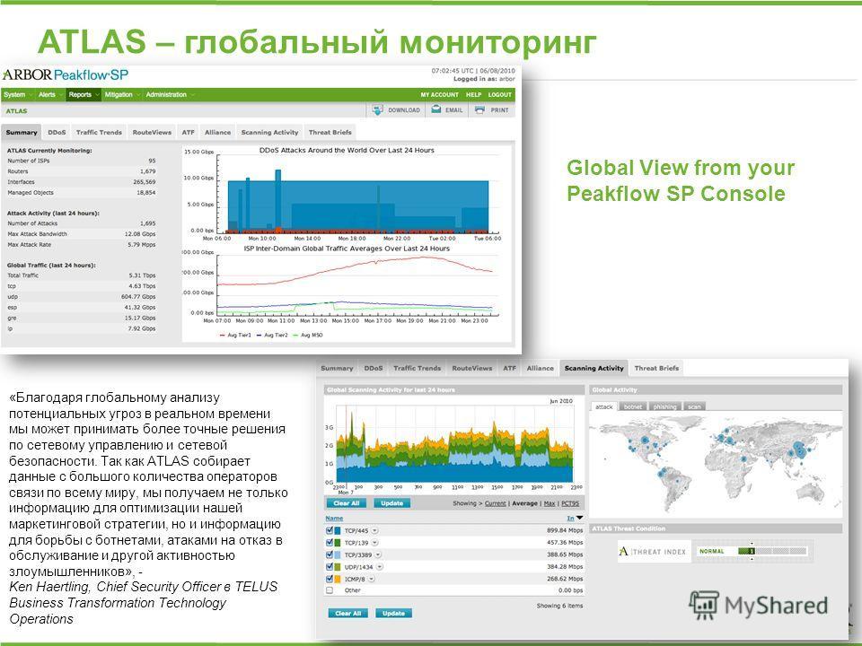 ATLAS – глобальный мониторинг Global View from your Peakflow SP Console «Благодаря глобальному анализу потенциальных угроз в реальном времени мы может принимать более точные решения по сетевому управлению и сетевой безопасности. Так как ATLAS собирае
