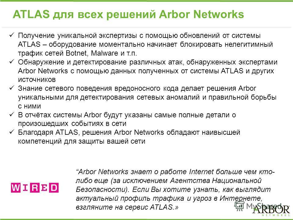 ATLAS для всех решений Arbor Networks Получение уникальной экспертизы с помощью обновлений от системы ATLAS – оборудование моментально начинает блокировать нелегитимный трафик сетей Botnet, Malware и т.п. Обнаружение и детектирование различных атак,