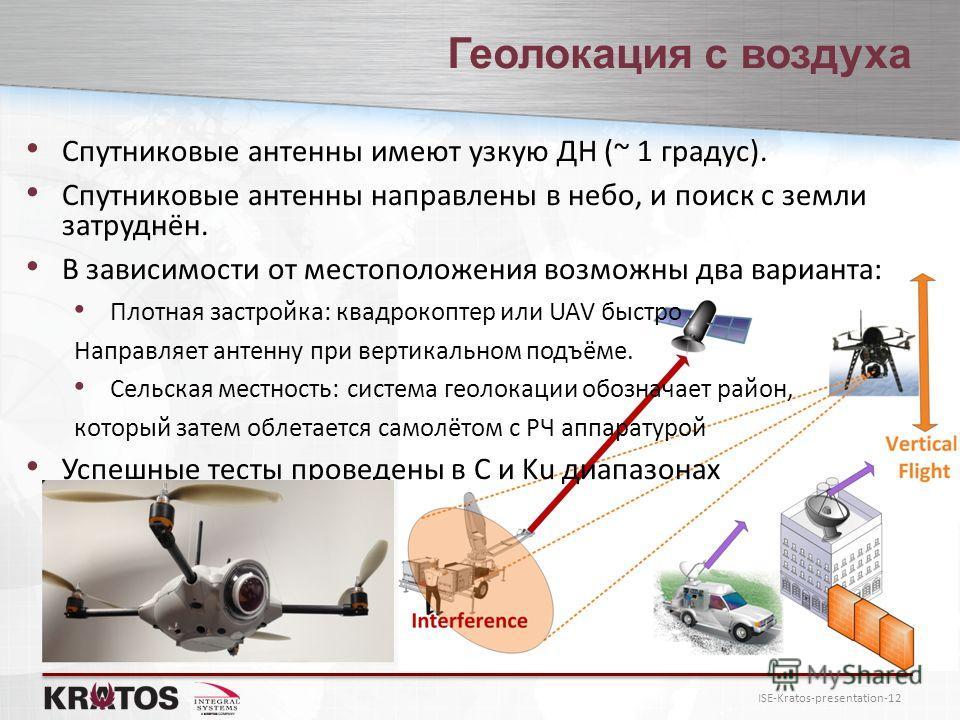 ISE-Kratos-presentation-12 Геолокация с воздуха Спутниковые антенны имеют узкую ДН (~ 1 градус). Спутниковые антенны направлены в небо, и поиск с земли затруднён. В зависимости от местоположения возможны два варианта: Плотная застройка: квадрокоптер