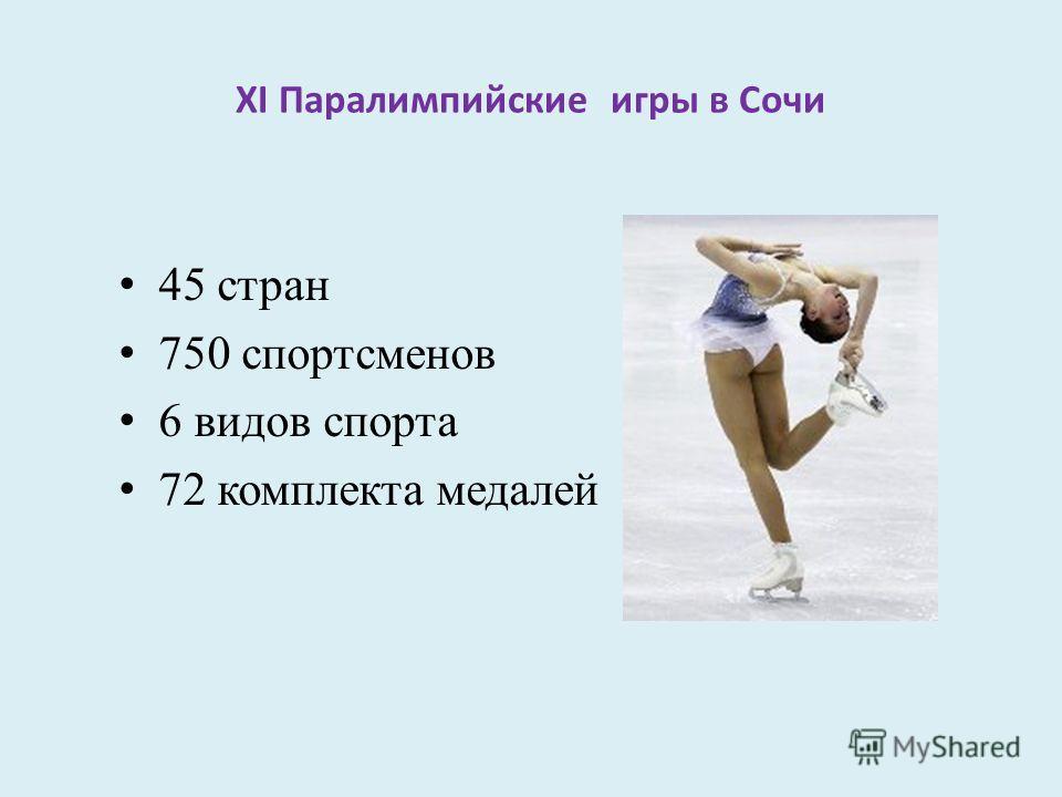 XI Паралимпийские игры в Сочи 45 стран 750 спортсменов 6 видов спорта 72 комплекта медалей