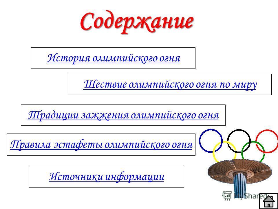 Содержание История олимпийского огня Шествие олимпийского огня по миру Традиции зажжения олимпийского огня Правила эстафеты олимпийского огня Источники информации