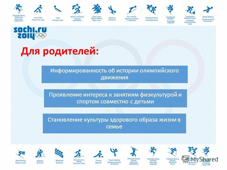 Для родителей: Информированность об истории олимпийского движения Проявление интереса к занятиям физкультурой и спортом совместно с детьми Становление культуры здорового образа жизни в семье