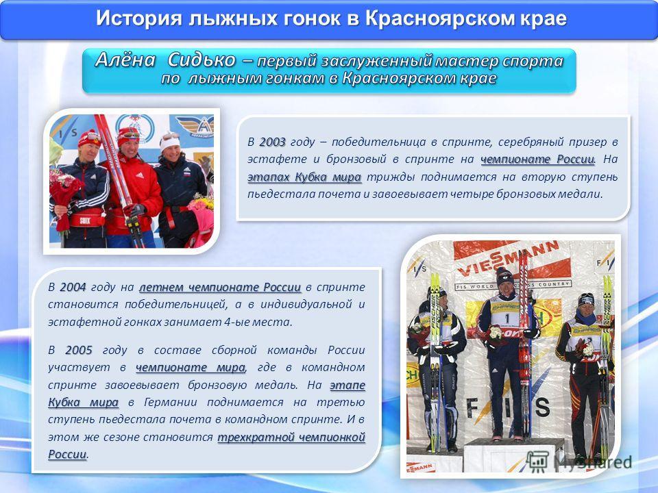 История лыжных гонок в Красноярском крае 2004 летнем чемпионате России В 2004 году на летнем чемпионате России в спринте становится победительницей, а в индивидуальной и эстафетной гонках занимает 4-ые места. 2005 чемпионате мира этапе Кубка мира тре
