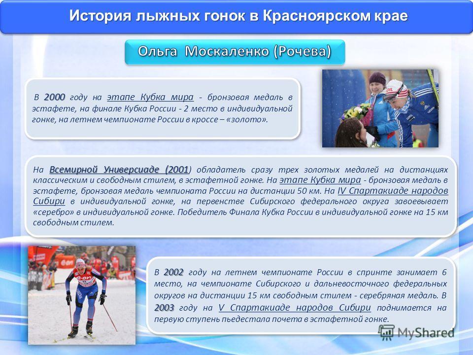 История лыжных гонок в Красноярском крае 2002 2003 В 2002 году на летнем чемпионате России в спринте занимает 6 место, на чемпионате Сибирского и дальневосточного федеральных округов на дистанции 15 км свободным стилем - серебряная медаль. В 2003 год