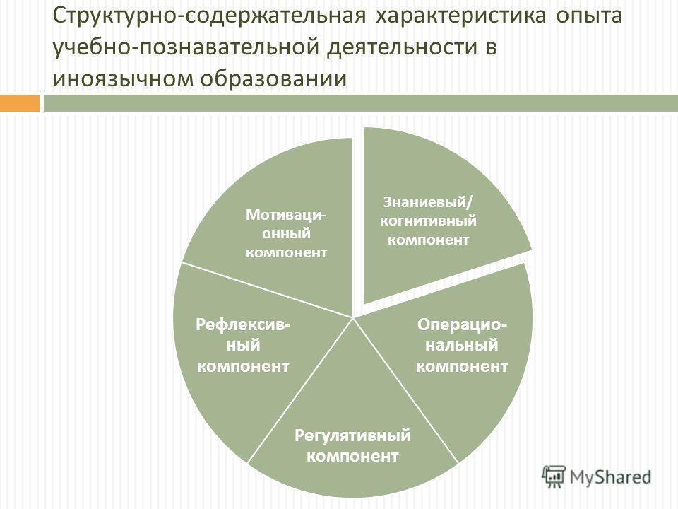Структурно - содержательная характеристика опыта учебно - познавательной деятельности в иноязычном образовании Знаниевый / когнитивный компонент Операцио - нальный компонент Регулятивный компонент Рефлексив - ный компонент Мотиваци - онный компонент
