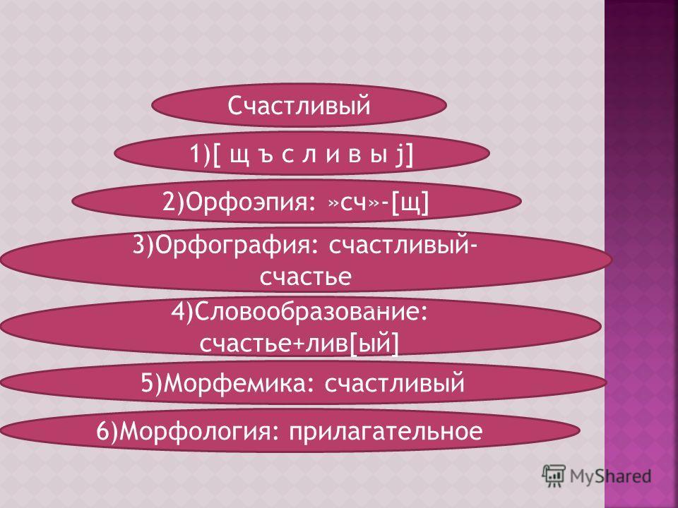 Счастливый 1)[ щ ъ c л и в ы j] 2)Орфоэпия: »сч»-[щ] 4)Словообразование: cчастье+лив[ый] 5)Морфемика: счастливый 3)Орфография: счастливый- счастье 6)Морфология: прилагательное