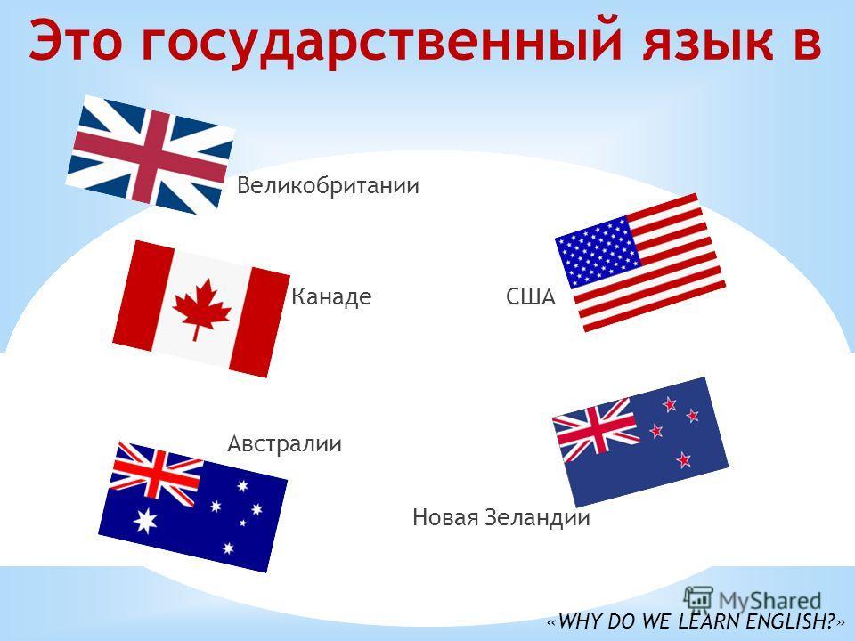 Это государственный язык в Великобритании Канаде США Австралии Новая Зеландии «WHY DO WE LEARN ENGLISH?»