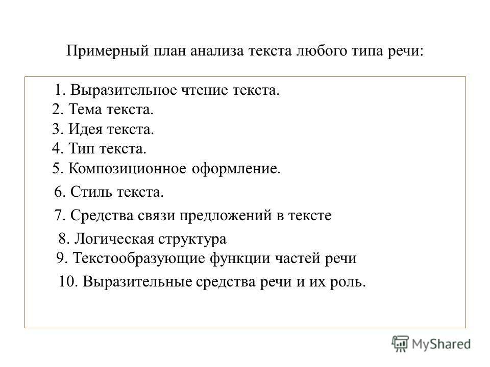 Примерный план анализа текста любого типа речи: 1. Выразительное чтение текста. 2. Тема текста. 3. Идея текста. 4. Тип текста. 5. Композиционное оформление. 6. Стиль текста. 7. Средства связи предложений в тексте 8. Логическая структура 9. Текстообра