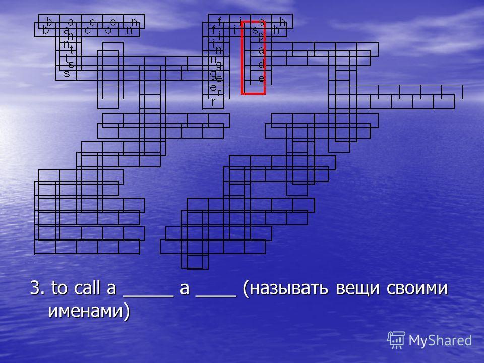 3. to call a _____ a ____ (называть вещи своими именами)