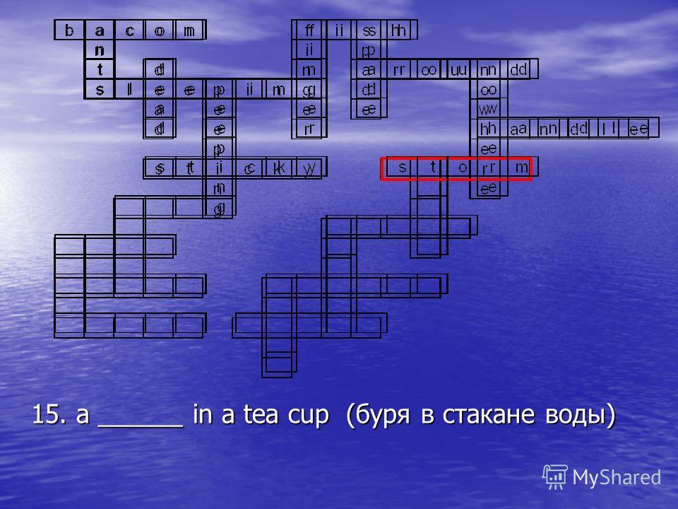 15. a ______ in a tea cup (буря в стакане воды)