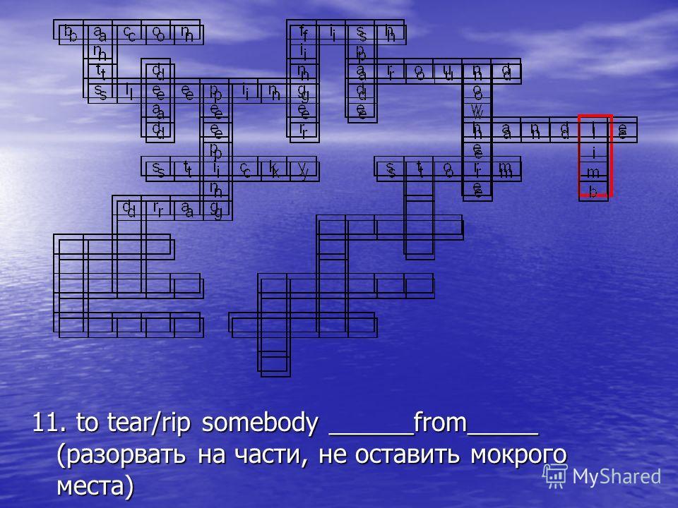 11. to tear/rip somebody ______from_____ (разорвать на части, не оставить мокрого места)
