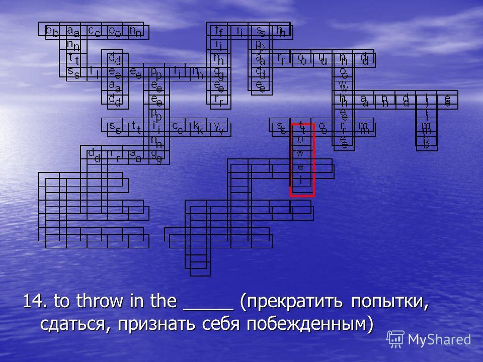 14. to throw in the _____ (прекратить попытки, сдаться, признать себя побежденным)