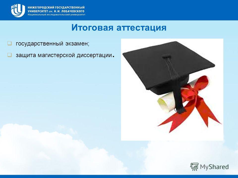 Итоговая аттестация государственный экзамен; защита магистерской диссертации.