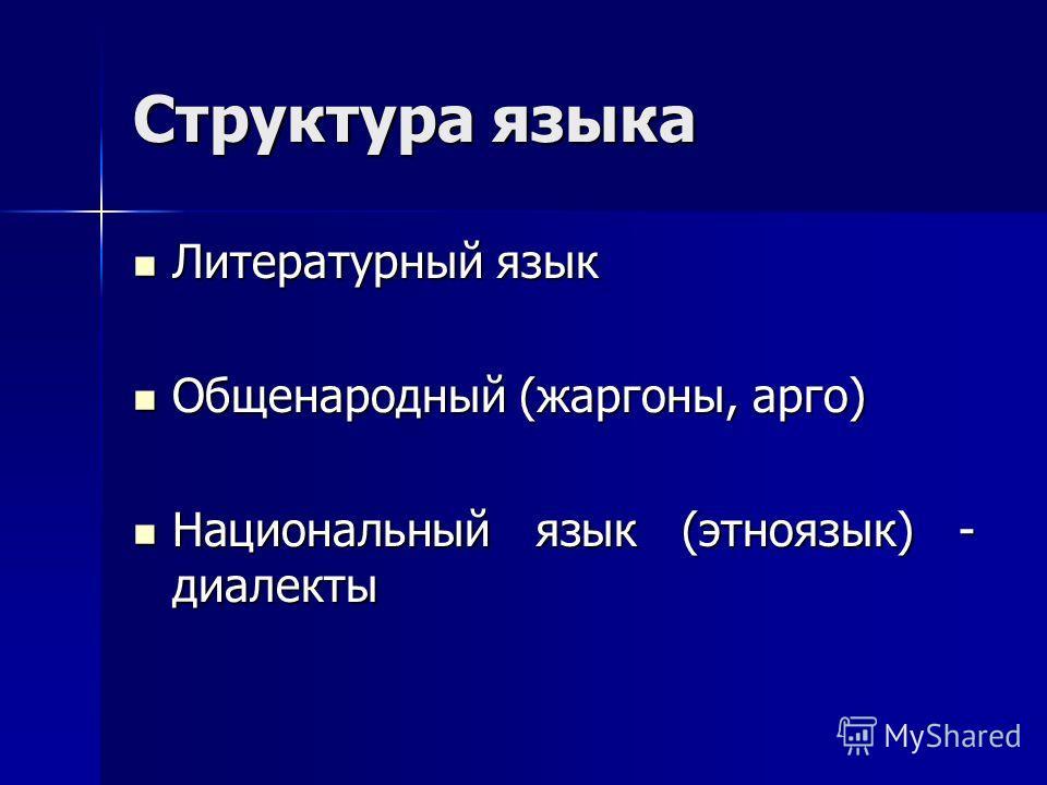 Основные составляющие русского языка Территориальные диалекты - существуют в устной форме, служат для бытового общения. Территориальные диалекты - существуют в устной форме, служат для бытового общения. Жаргоны – профессиональные и социально-групповы