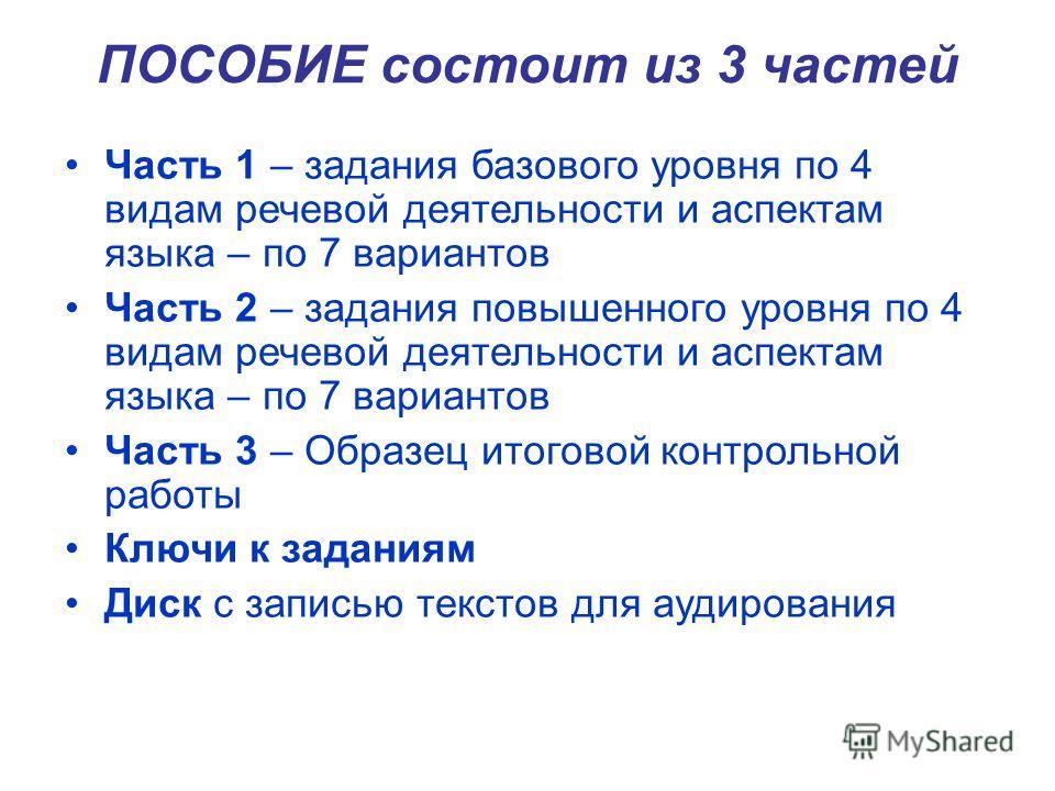 ПОСОБИЕ состоит из 3 частей Часть 1 – задания базового уровня по 4 видам речевой деятельности и аспектам языка – по 7 вариантов Часть 2 – задания повышенного уровня по 4 видам речевой деятельности и аспектам языка – по 7 вариантов Часть 3 – Образец и