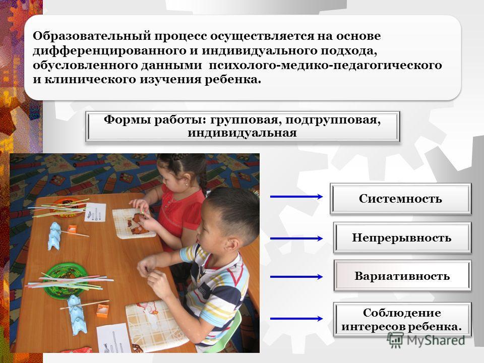 Образовательный процесс осуществляется на основе дифференцированного и индивидуального подхода, обусловленного данными психолого-медико-педагогического и клинического изучения ребенка. Формы работы: групповая, подгрупповая, индивидуальная Системность