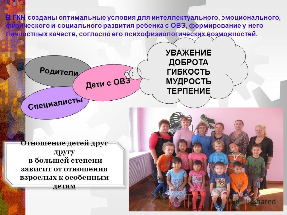 В ГКН созданы оптимальные условия для интеллектуального, эмоционального, физического и социального развития ребенка с ОВЗ, формирование у него личностных качеств, согласно его психофизиологических возможностей. Отношение детей друг другу в большей ст