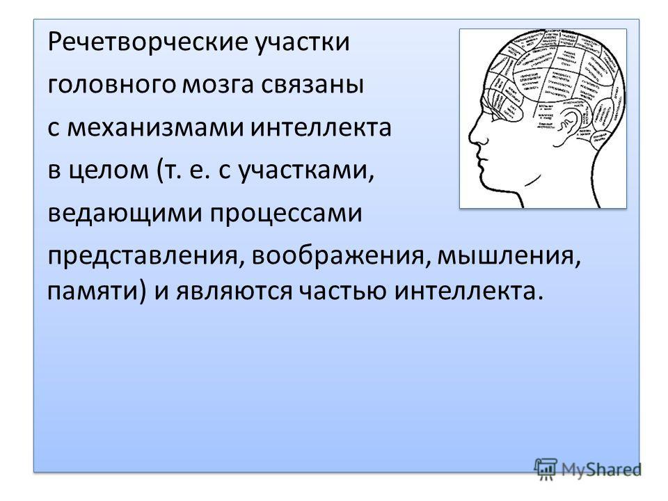 Речетворческие участки головного мозга связаны с механизмами интеллекта в целом (т. е. с участками, ведающими процессами представления, воображения, мышления, памяти) и являются частью интеллекта. Речетворческие участки головного мозга связаны с меха