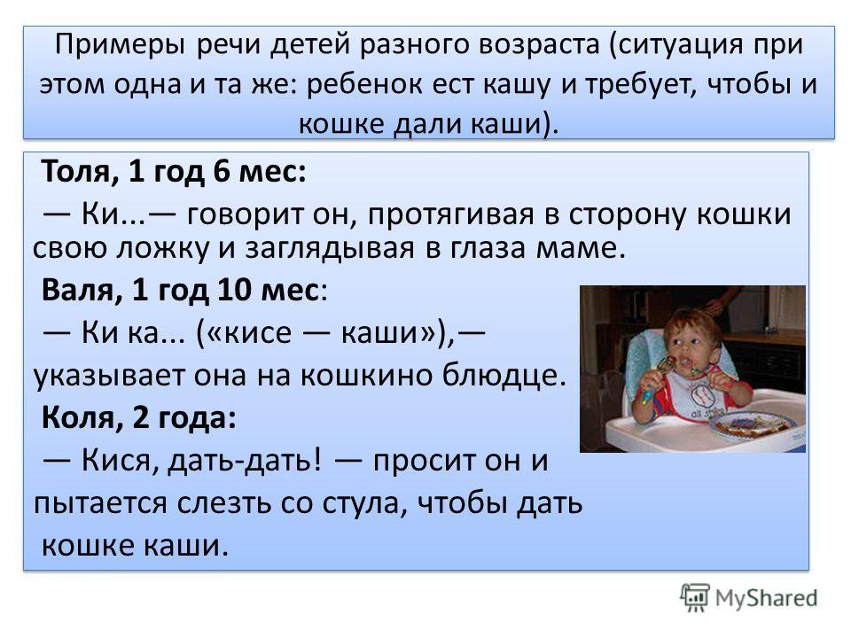Примеры речи детей разного возраста (ситуация при этом одна и та же: ребенок ест кашу и требует, чтобы и кошке дали каши). Толя, 1 год 6 мес: Ки... говорит он, протягивая в сторону кошки свою ложку и заглядывая в глаза маме. Валя, 1 год 10 мес: Ки ка