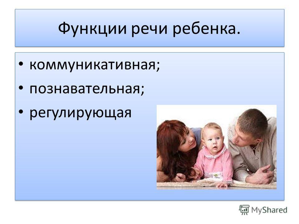 Функции речи ребенка. коммуникативная; познавательная; регулирующая коммуникативная; познавательная; регулирующая