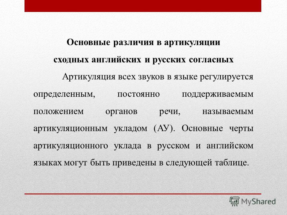 Основные различия в артикуляции сходных английских и русских согласных Артикуляция всех звуков в языке регулируется определенным, постоянно поддерживаемым положением органов речи, называемым артикуляционным укладом (АУ). Основные черты артикуляционно