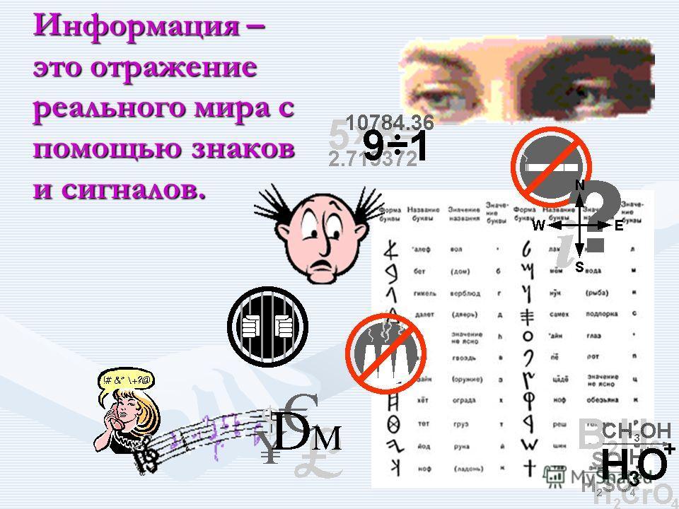 Информация – это отражение реального мира с помощью знаков и сигналов.
