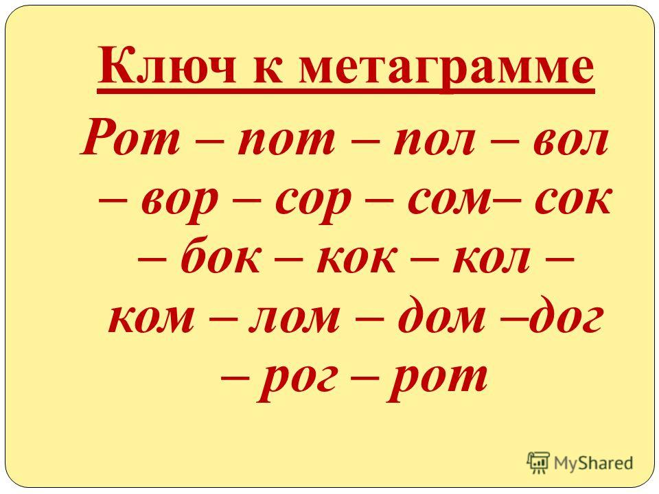 Ключ к метаграмме Рот – пот – пол – вол – вор – сор – сом– сок – бок – кок – кол – ком – лом – дом –дог – рог – рот