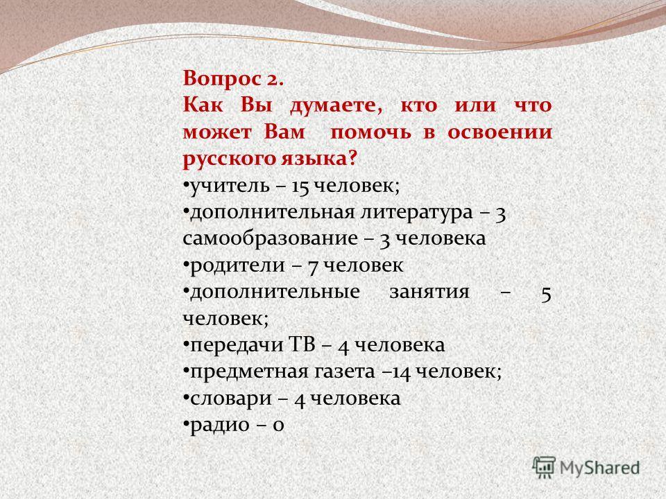 Вопрос 2. Как Вы думаете, кто или что может Вам помочь в освоении русского языка? учитель – 15 человек; дополнительная литература – 3 самообразование – 3 человека родители – 7 человек дополнительные занятия – 5 человек; передачи ТВ – 4 человека предм