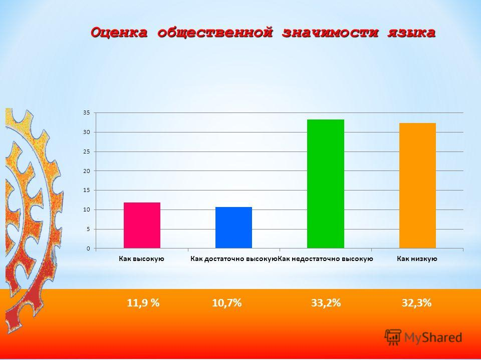 Оценка общественной значимости языка 11,9 % 10,7% 33,2% 32,3%