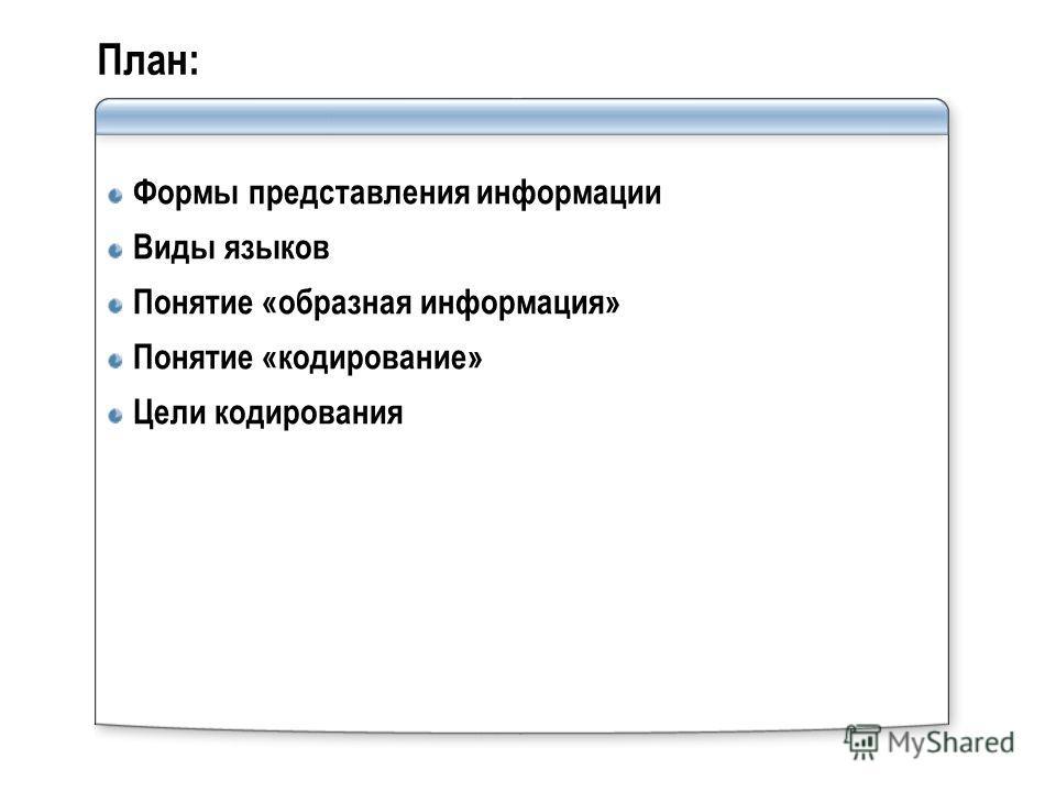 План: Формы представления информации Виды языков Понятие «образная информация» Понятие «кодирование» Цели кодирования