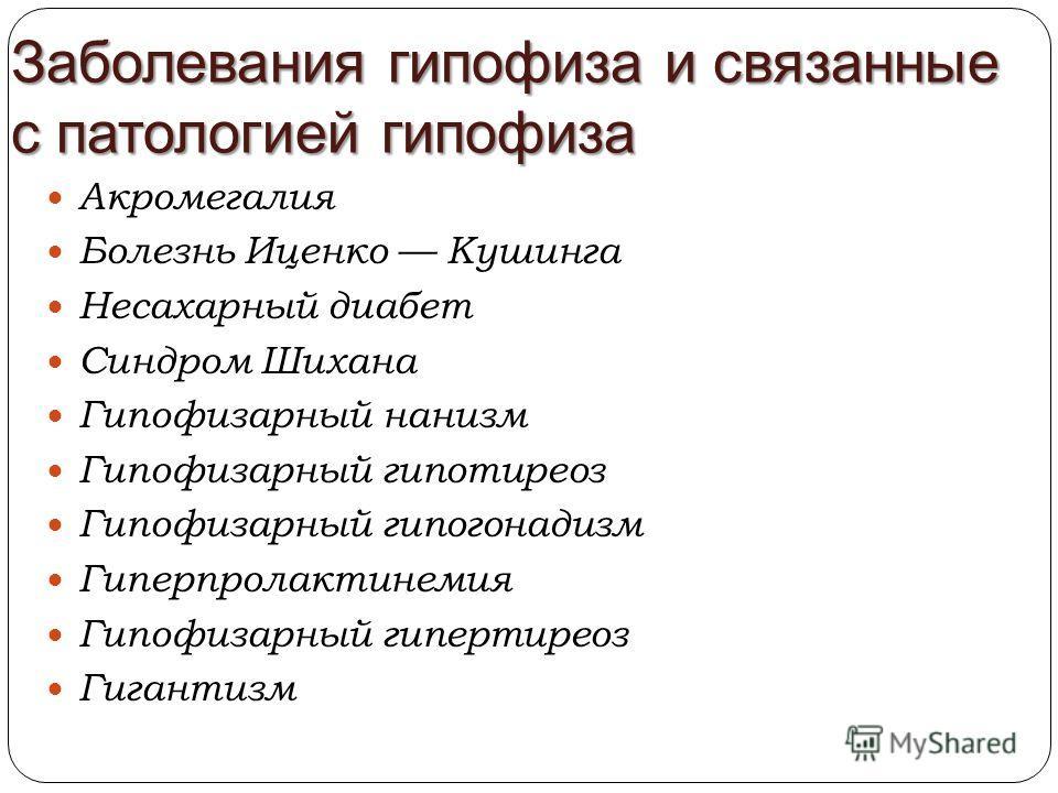 Заболевания гипофиза и связанные с патологией гипофиза Акромегалия Болезнь Иценко Кушинга Несахарный диабет Синдром Шихана Гипофизарный нанизм Гипофизарный гипотиреоз Гипофизарный гипогонадизм Гиперпролактинемия Гипофизарный гипертиреоз Гигантизм