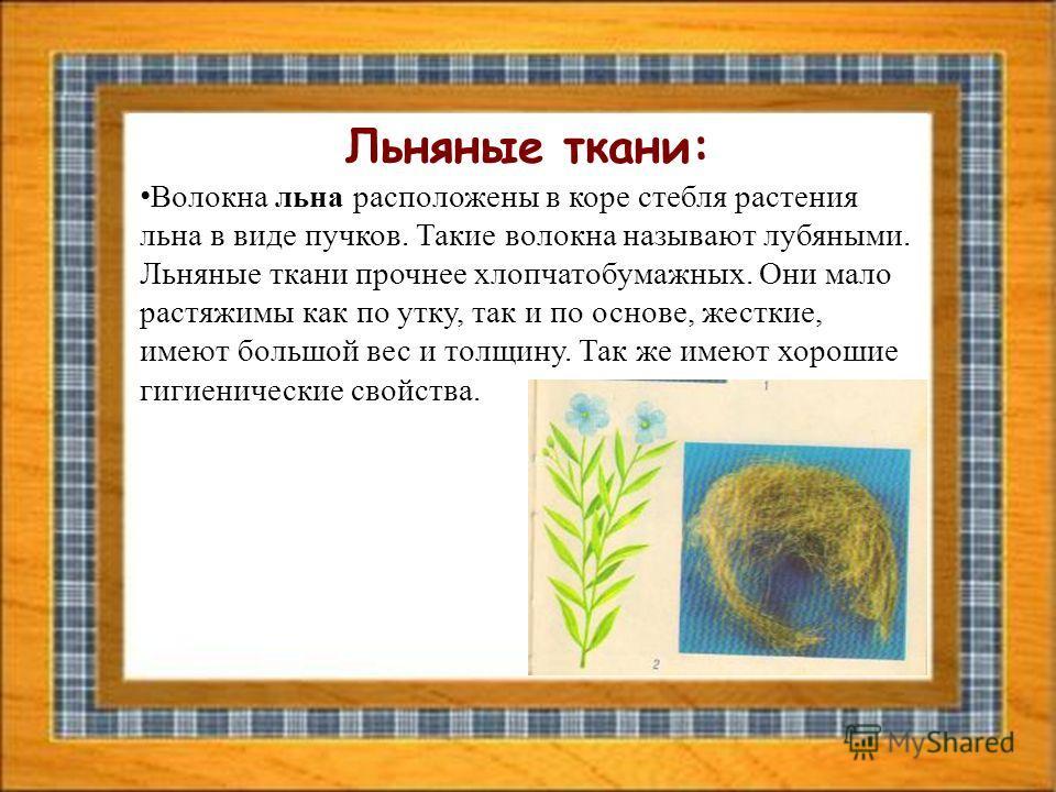 Льняные ткани: Волокна льна расположены в коре стебля растения льна в виде пучков. Такие волокна называют лубяными. Льняные ткани прочнее хлопчатобумажных. Они мало растяжимы как по утку, так и по основе, жесткие, имеют большой вес и толщину. Так же